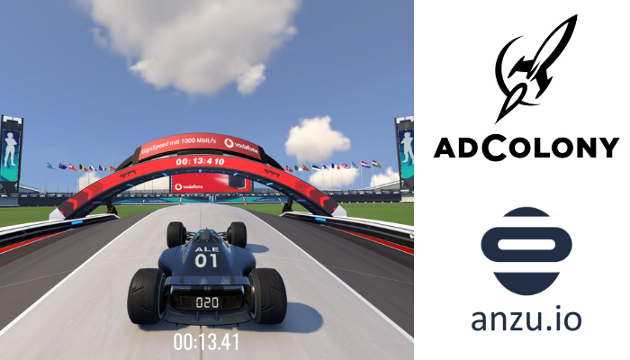 Formula One Game Car with AdColony and Anzu Logos